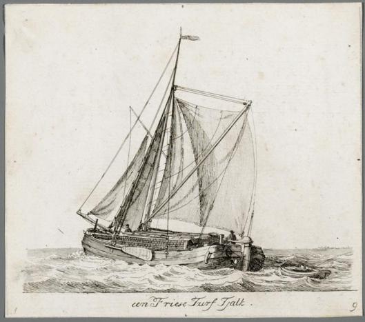 Een zeilende turftjalk getekend door Gerrit Groenenwegen (1754-1826).