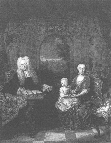 Lieve Geelvinck (1676-1743) en zijn vrouw Anna De Haze + driejarige Lieve Geelvinck (1730-1757) = de latere vader van mr. Lieve Geelvinck van Bosbeek. Gravure door J.M.Quinckhard