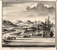 De fregatten 't Weseltje en Geelvinck nij de ingang van de Zwanenrivier in Oos-Indië in 1696 (Uit: Francois Valentijn, 1727).