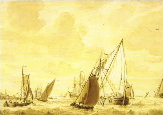EEn druk bevaren Haarlemmermeer met zeilschepen. Tekening van Cornelis van Noorde uit 1763. Links in de verte de torens van het kasteel van Heemstede