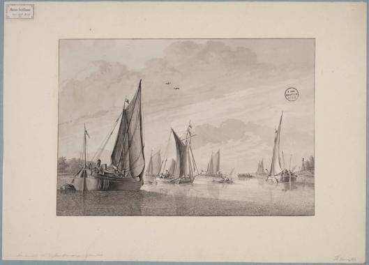 Scheepvaart op het Haarlemmermeer nabij de mond met vuurtoren bij Heemstede. Tekening door Dirk Verrijk uit omstreeks 1770 (Universiteitsbibliotheek Leiden)