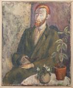 Geschilderd portret van Jan Hanlo door de Roermondse kunstenaar REné Wong (1920-1974), december 2000 voor 200 euro geveild bij Venduehuis Dickhaut in Maastricht