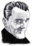 Met inkt getekend portret van Jan Hanlo door Bert Osnabrug (2011, bevindt zich met nog 1 ander portret in particuliere collectie)