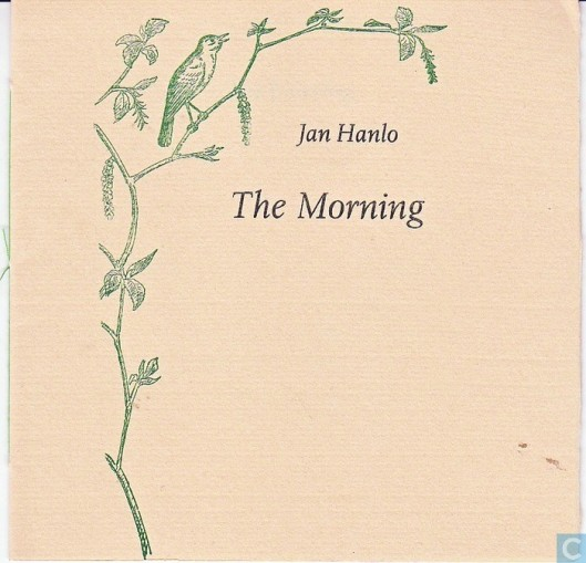 Vooromslag van 'The Morning', door Jan Hanlo. Uitgave Avalon pers 1988