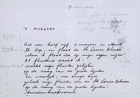 's Morgens in handschrift van Jan Hanlo. Opgenomen in zijn bundel: The Varnished - het geverniste (1952)
