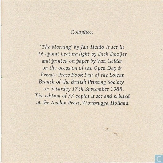 Colofon 'The Morning' Woubrugge, Avalon pers, 1988.