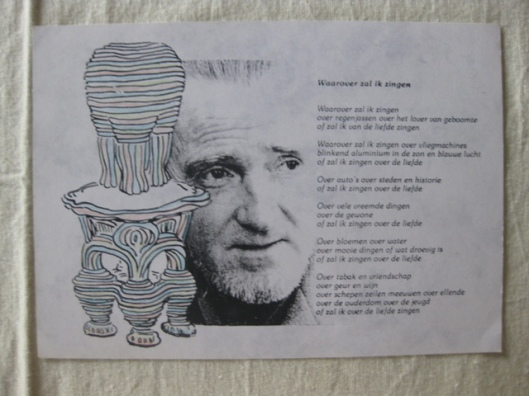Uitnodigingskaart tentoonstelling Jan Hanlo met tekening van Det Smeets