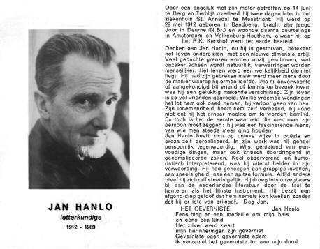 Bidprentje Jan Hanlo