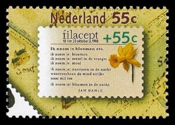 In 1988 verschenen postzgel met een gedicht van Jan Hanlo: 'Ik noem je bloem' etc.
