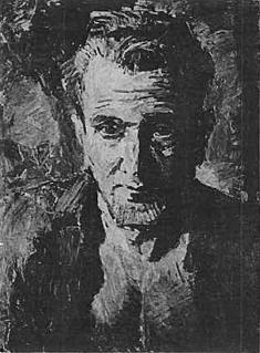 Geschilderd portret van Jan Hanlo door René Wong (in particulier bezit)
