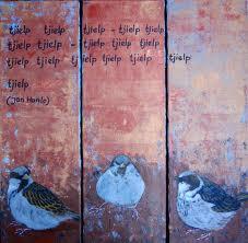 Driielui op doek, geïnspireerd op 'de mus' van Jan Hanlo (Galerie Hennie Los)