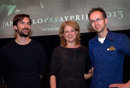 Winnaars van Jan Hanlo Essayprijzen in 2013. V.l.n.r.: Stephane Kaas [won voor het eerst de uitgereikte filmprijs], Marja Pruis en Daan Stoffelen.