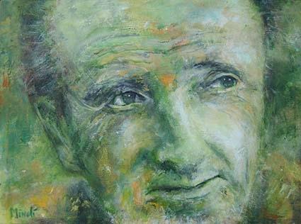 Portret van Jan Hanlo door de Haarlemse kunstenares Saskia Minoli uit 2014