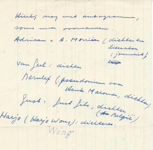 Namen van personen van wie Hanlo bij zijn eerste brief meezond: Adriaan Morriën, Chr.J.van Geel, Bernlef, Gust Gils en Harjo Wong