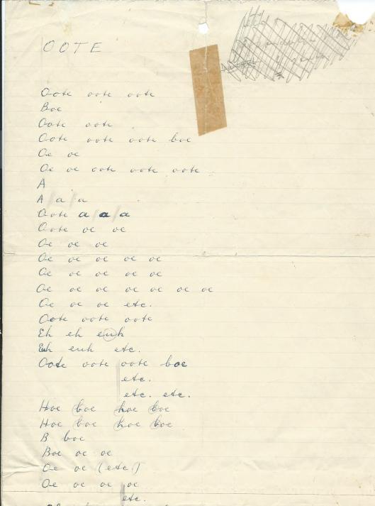 Het gedicht OOTE dat Hanlo in zijn handschrift toezond