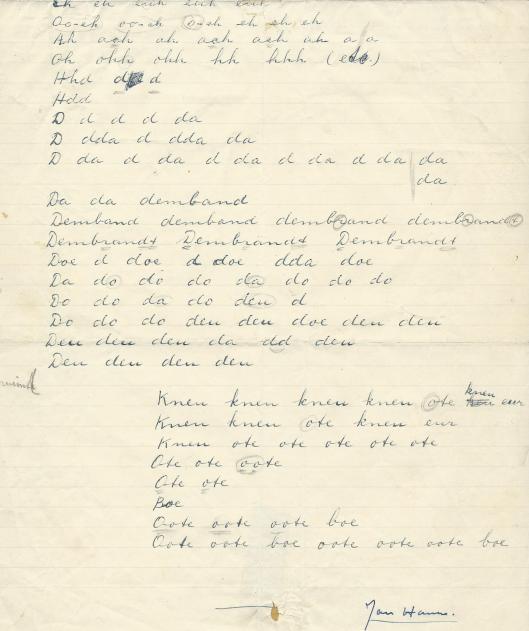 Vervolg van Jan Hanlo's gedicht in manuscript: Oote