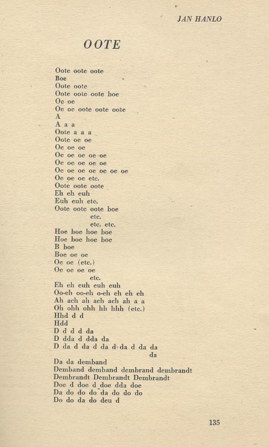 Publicatie van 'Oote' door Jan Hanlo in het tijdschrift Roeping van januari/februari 1952, nr. 3, blz. 135-136