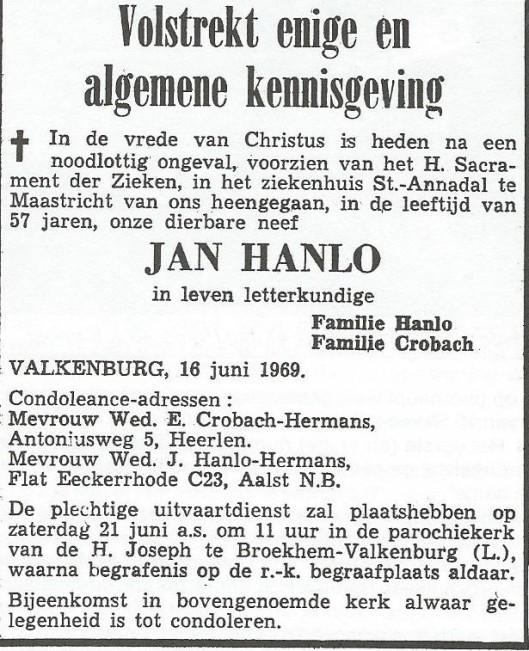 Rouwadvertentie Jan Hanlo
