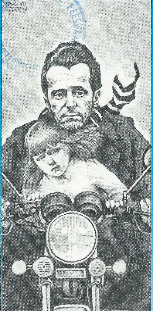Cartoon Jan Hanlo met kind op de motor. Uit: Drie Gespletenen, jrg. 2, nr.1 `985 (Ronald Dietz)