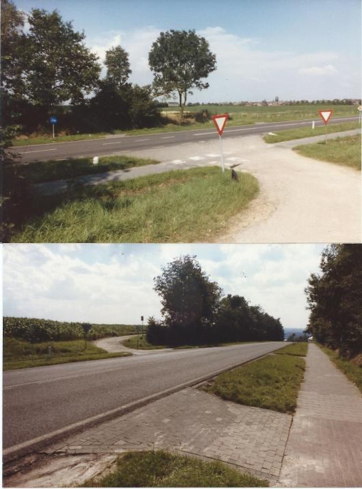 Twee foto's, genomen door (gepensioneerd) landmeter, Reviaan en Bomansiaan Jan Henry, van het kruispunt op de Rasberg waar Jan Hanlo met zijn motor tegen de tractor aanreed van boer B. uit Berg. Dit kruispunt bevindt zich aan de Rijksstraatweg te Berg en Terblijt. in de directe omgeving van kilometerpaal 6-2. 'Ik heb nog even gezocht naar stukjes van glas van achterlichten, koplampen enz. maar kon niets vinden', aldus de fotograaf in een schrijven van 19 maart 1987.