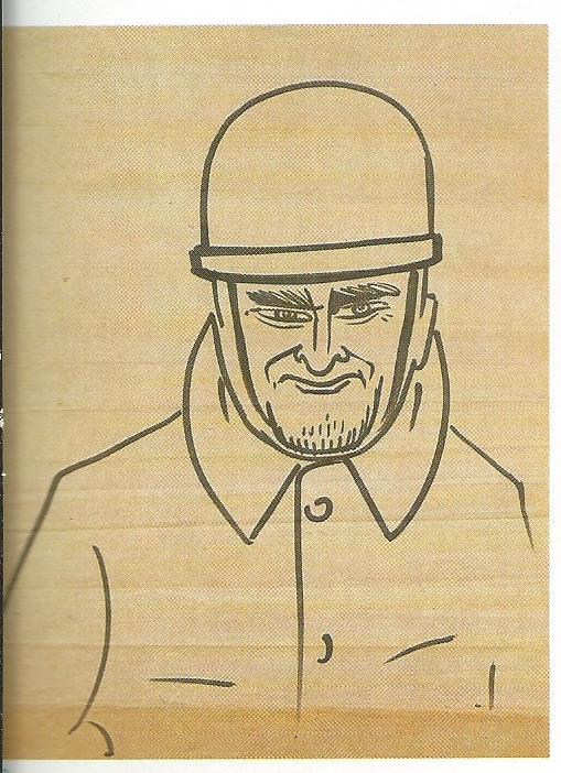 Anonieme tekening van Jan Hanlo met motorhelm