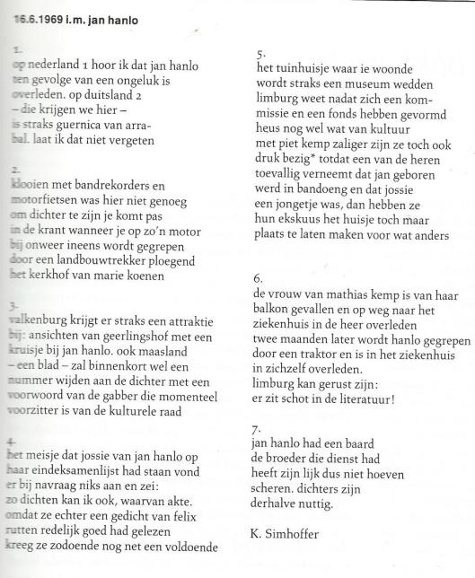 In memoriam Jan Hanlo gedicht door K.Simhoffer