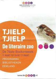 Vooromslag flyer 'Tjielp. de literaire zoo' van bibliotheken Eemland