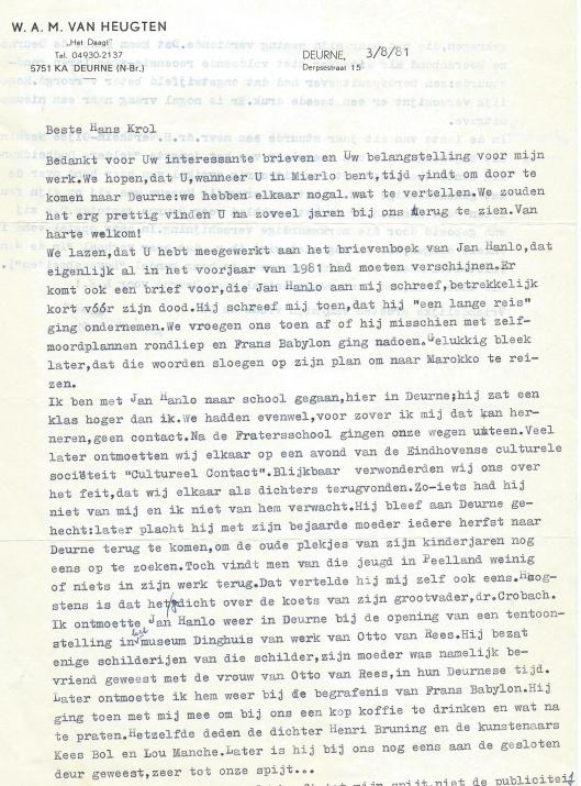 Schrijven van journalist en dichter W.A.M.van Heugten over Jan Hanlo en Deurne (3-8-1981)