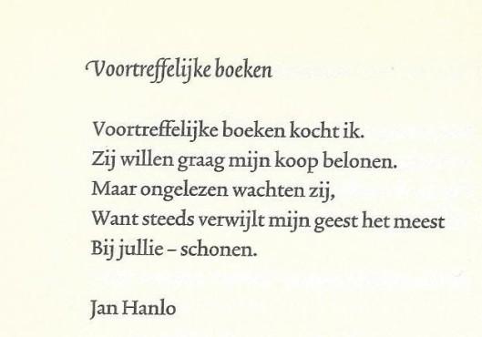 Uit: Verzamelde gedichten. Amsterdam, G.A.van Oorschot, 1958. Overgenomen in: Niet nog een boek; gedichten over boek, bibliotheek en lezer. Amsterdam, De Buitenkant, 2001.