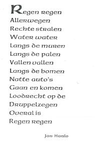 Gedicht van Jan Hanlo, in 1990 gedrukt door Hawthorn, Dingle & Co. Kerry, Ireland