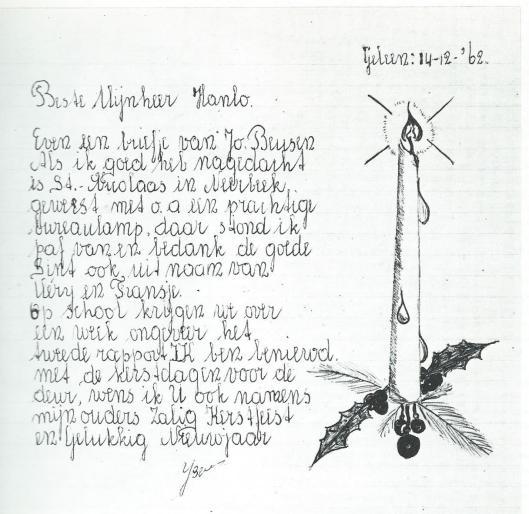 Kinderbrief aan Jan Hanlo. Geleen, 14-12-1962. Uit: Brieven in beeld. Nederlands Letterkundig Museum en Documentatiecentrum, 1976.