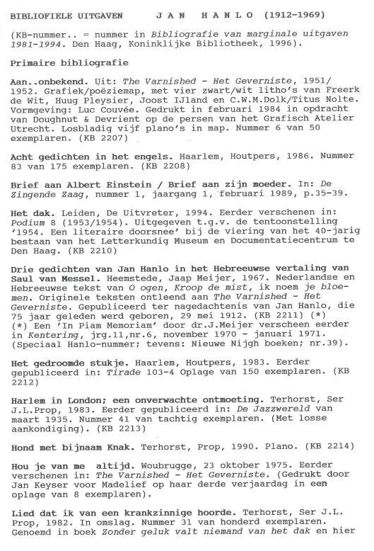 Bibliofiele uitgaven Jan Hanlo (1)