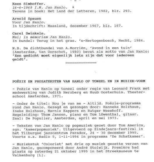 Vervolg van Gedichten opgedragen aan Jan Hanlo + Poëzie en prozateksten van Hanlo op toneel en in muziek-vorm