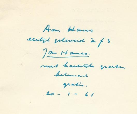 Opdracht van Jan Hanlo in een geleverde dichtbundel 'Niet ongelijk' aan Hans Krol, 20-1-1961