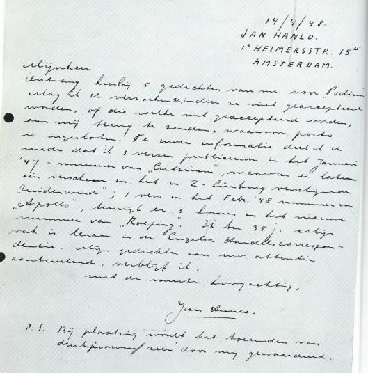 Brief van Jan Hanlo aan de redactie van het tijdschrift Podium, 14 april 1948