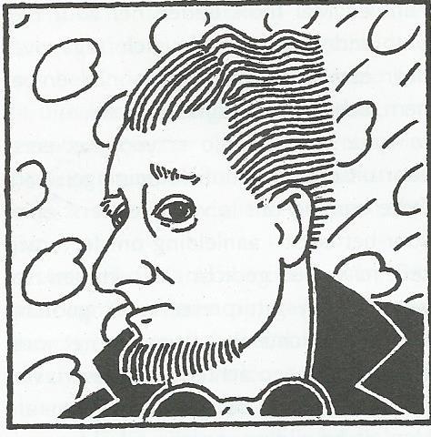 Cartoon van Jan Hanlo door Dick Wiarda