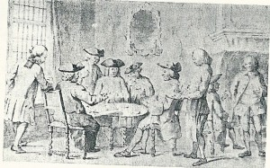 Het Fransche Koffiehuis in Amsterdam, gesigneerd P.Muilman (uit verz. mr.Chr.P.van Eeghen)