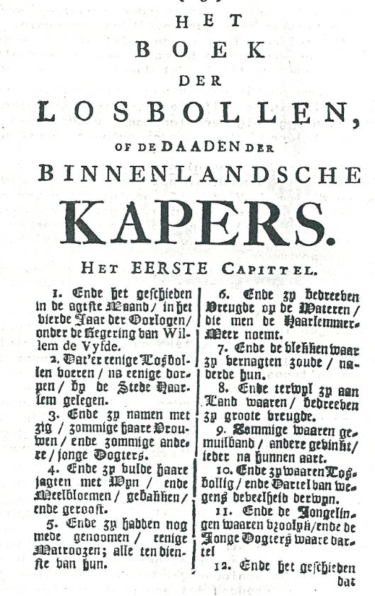 Eerste pagina uit pamflet: Het boek der losbollen...