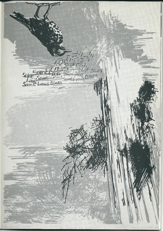 Zeefdruk van 's Morgens (Jan Hanlo), vervaardigd door Hans Smeets (geboren 1943 in Valkenburg)