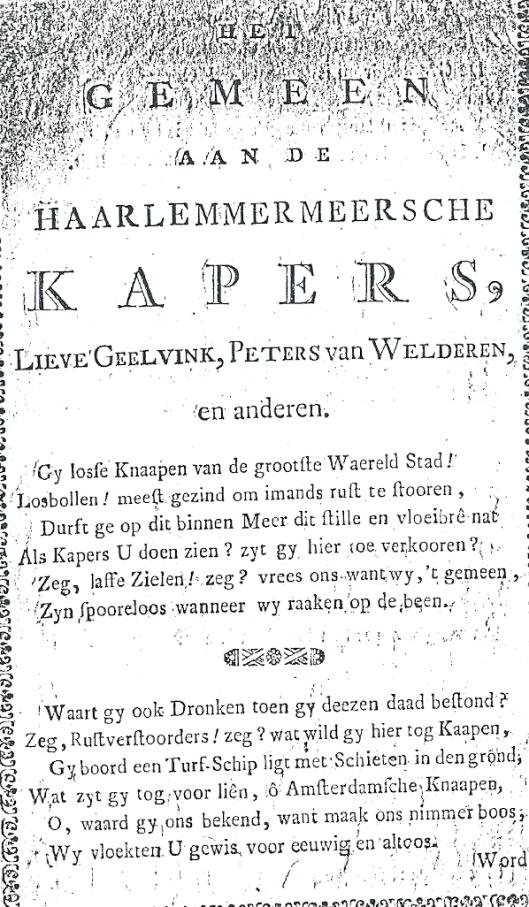 Pagina uit pamflet-vers: 'Het gemeen aan de Haarlemmermeersche kapers, Lieve Geelvinck, Peters van Welderen, en anderen