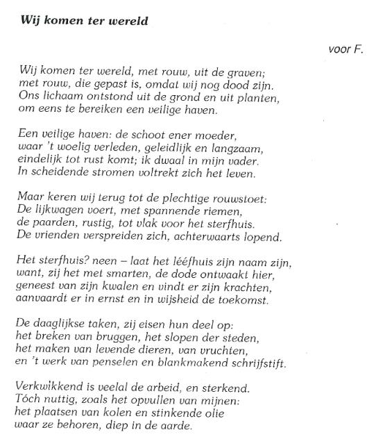 Vers 'Wij komen ter wereld' door Jan Hanlo (1946)