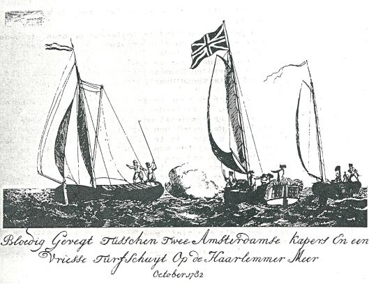 Lieve Geelvinck, kapitein van het middelste zeilschip, heeft de Engelse vlag gehesen