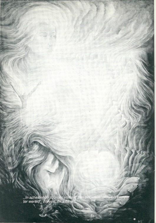 Olieverfdoek door Gerard Hettinga (1942 geboren in Amsterdam), 1989, geïinspireerd op 'Wij komen ter wereld' van Jan Hanlo