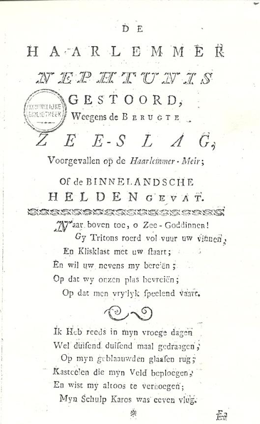 Titelblad en eerste twee strofen van het vers: 'De Haarlemmer Nephtunis gestoord...' (1782)