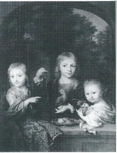 Schilderij van Arnold Boonen uit 1716 met van links naar rechts: Cornelis Geelvinck, Nicolaas Geelvinck en Catharina Jacoba Geelvinck