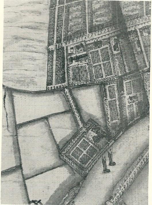 De buitenplaats Oosterhout in 1643. Fragment van de kaart van de heerlijkheid Heemstede door Balthasar Florisz. van Berckenrode. Gelegen aan het Spaarne herkent men duidelijk de geometrische barok-aanleg en optijlaan naar de Kleine Houtweg. Een aanzienlijk deel van de Hout was nog wildernis. Helemaal onderaan aan het Spaarne lag een oliemolen.