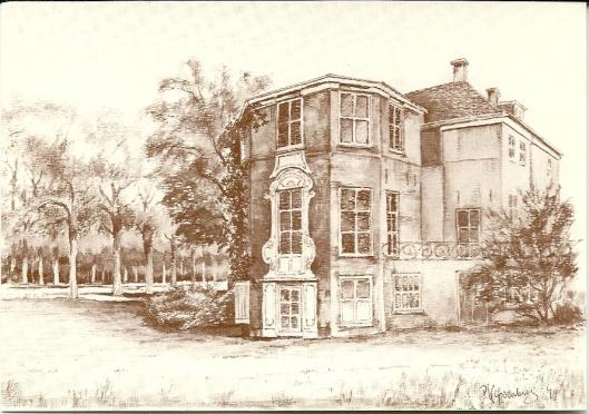 Achterzijde Ipenrode met uitbouw. Getekend door Piet Kapsenberg voor historische vereniging Heemstede Bennebroek (vh. VOHB) in 1979.