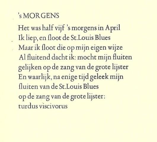 Het vers 's Morgens van Jan Hanlo