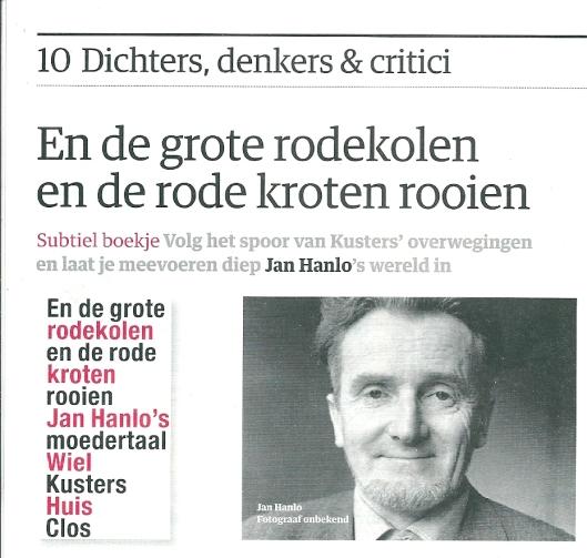 Recensie boek van Wiel Kusters over Jan Hanlo. Uit: Beursberichten zondag 8 december 2013 (1)