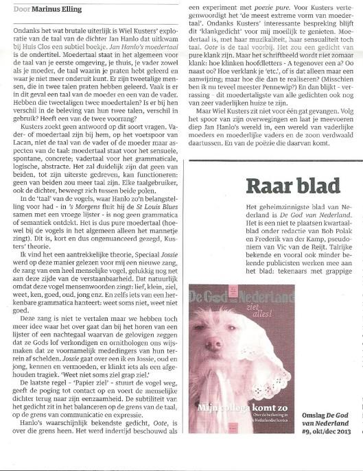 Vervolg artikel van Marinus Elling over jan Hanlo door Wiel Kusters